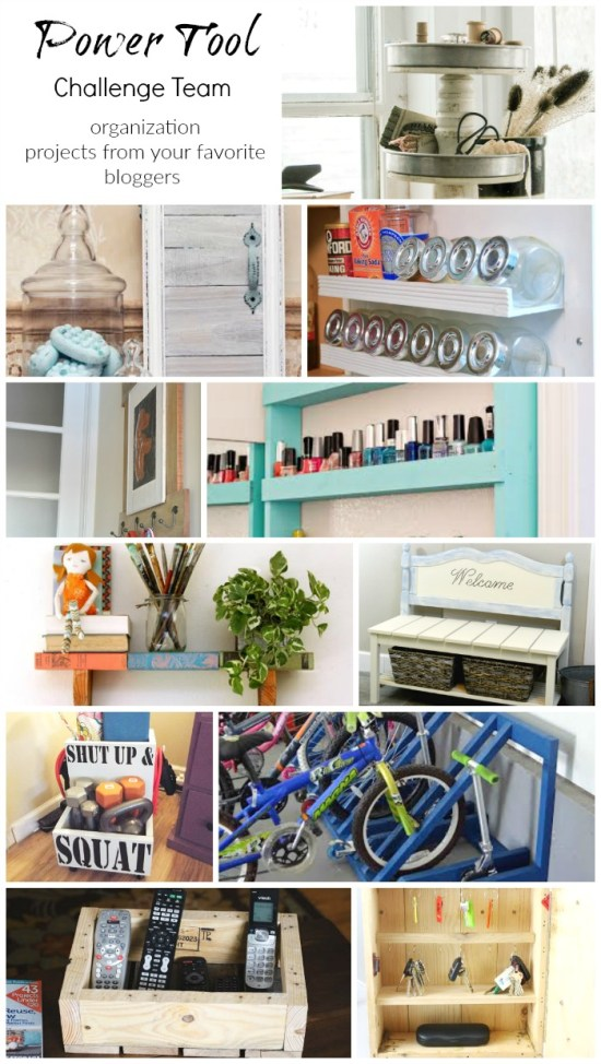Powertool Challenge Team DIY Organization projects visit to see all of these fabulous ideas! #PowerToolOrganization www.H2OBugalow.com