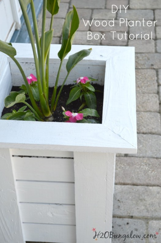 Simple tutorial to make a Key West Style Planter Box for much less than it would cost to purchase! See the rest of the Power Tool Challenge Team's spring projects linked up here too. #powertoolchallengespring H2OBungalow