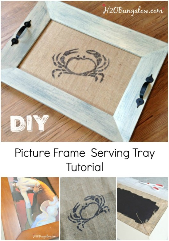 Tutorial to make a DIY coastal picture frame serving tray with a stenciled burlap crab under the glass from a basic wood picture frame. Easy project and thrifty. Makes great gift! H2OBungalow.com