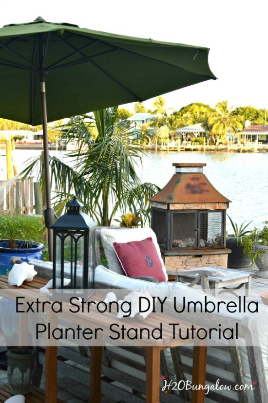 EASY tutorial to make a sturdy DIY umbrella planter stand with pvc pipe. Instructions to make an extra strong umbrella stand H2OBungalow