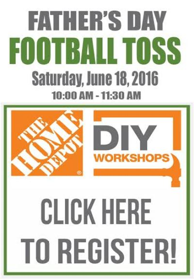 Attend a Fathers Day Football Toss workshop at your local Home Depot. Learn new and useful DIY skills and how to build this fun project. Register here.