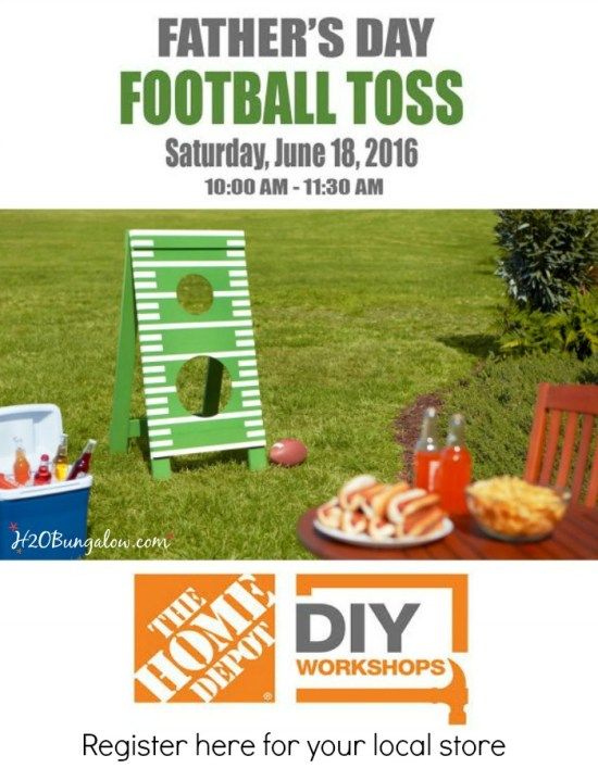 Attend a Fathers Day Football Toss workshop at your local Home Depot. Learn new and useful DIY skills and how to build this fun project. Register here at H2OBungalow.com