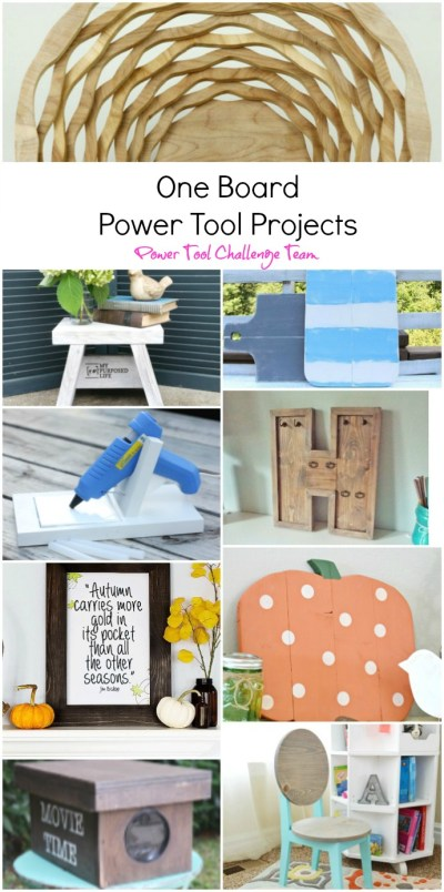 Easy DIY wood pumpkin cutout tutorial to make a hanging or standing wood pumpkin with one board. Easy DIY project for all skill levels. Plus 8 more easy one board projects by the Power Tool Challenge Team. Find them all at H2OBungalow