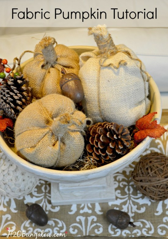 Easy step by step tutorial to make no sew fabric pumpkins. Stunning in burlap, velvet or another textured fabric. Great for fall and holiday vignettes. H2OBungalow