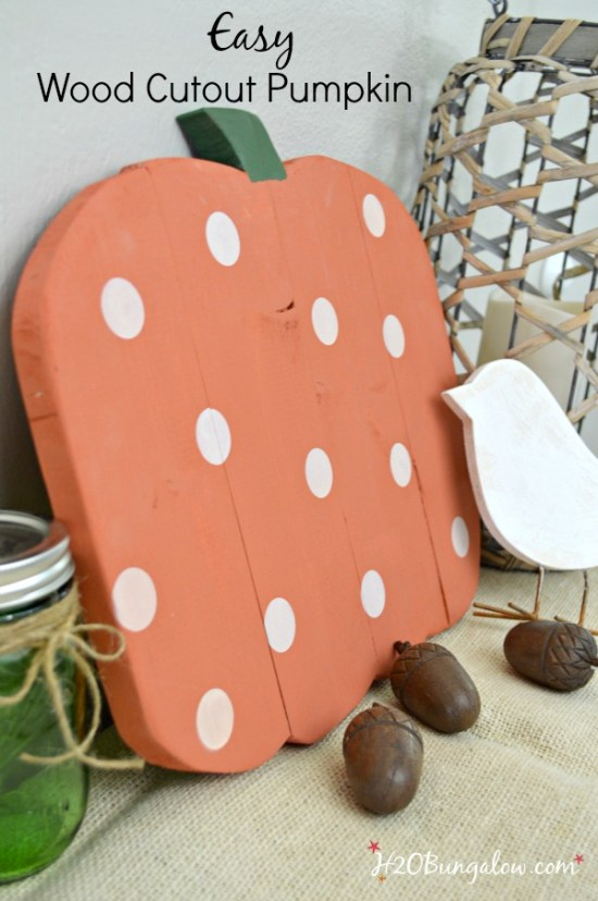 Easy DIY wood pumpkin cutout tutorial to make a hanging or standing wood pumpkin with one board. Easy DIY project for all skill levels. Plus find 8 more easy and creative one board power tool challenge team projects. See them all at H2OBungalow