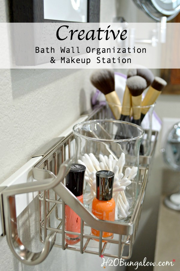 Creative bath wall organization tips and tutorial show how to add storage space that's flexible and perfect for creating a DIY wall makeup organization station. H2OBungalow