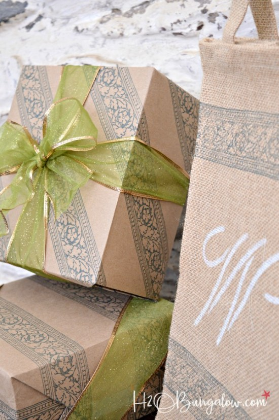 DIY stamped no sew linen napkins, wrapping paper and gift bag tutorial using IOD roller stamp and ink products. This is a super gift idea too! H2OBungalow