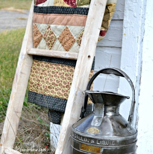 How to make a DIY vintage ladder tutorial. Simple assembly using pegs like old furniture was made. Instructions to add a rustic ages finish included.