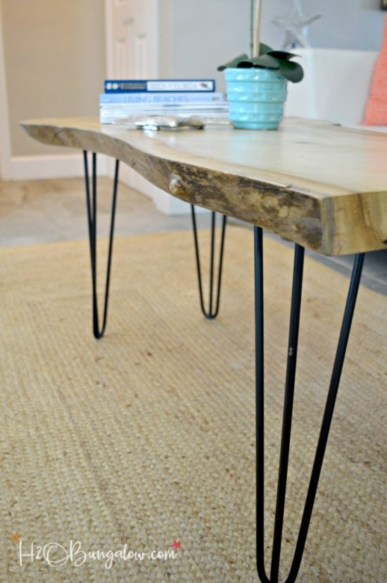 Why buy when you can DIY? Simple tutorial to make a DIY live edge wood coffee table with hairpin legs. Easy tutorial for beginner woodworkers. Make your own Mid Century Modern style coffee table and save a fortune. See what other Home decor projects the Power Tool Challenge Team shared this month too! H2OBungalow