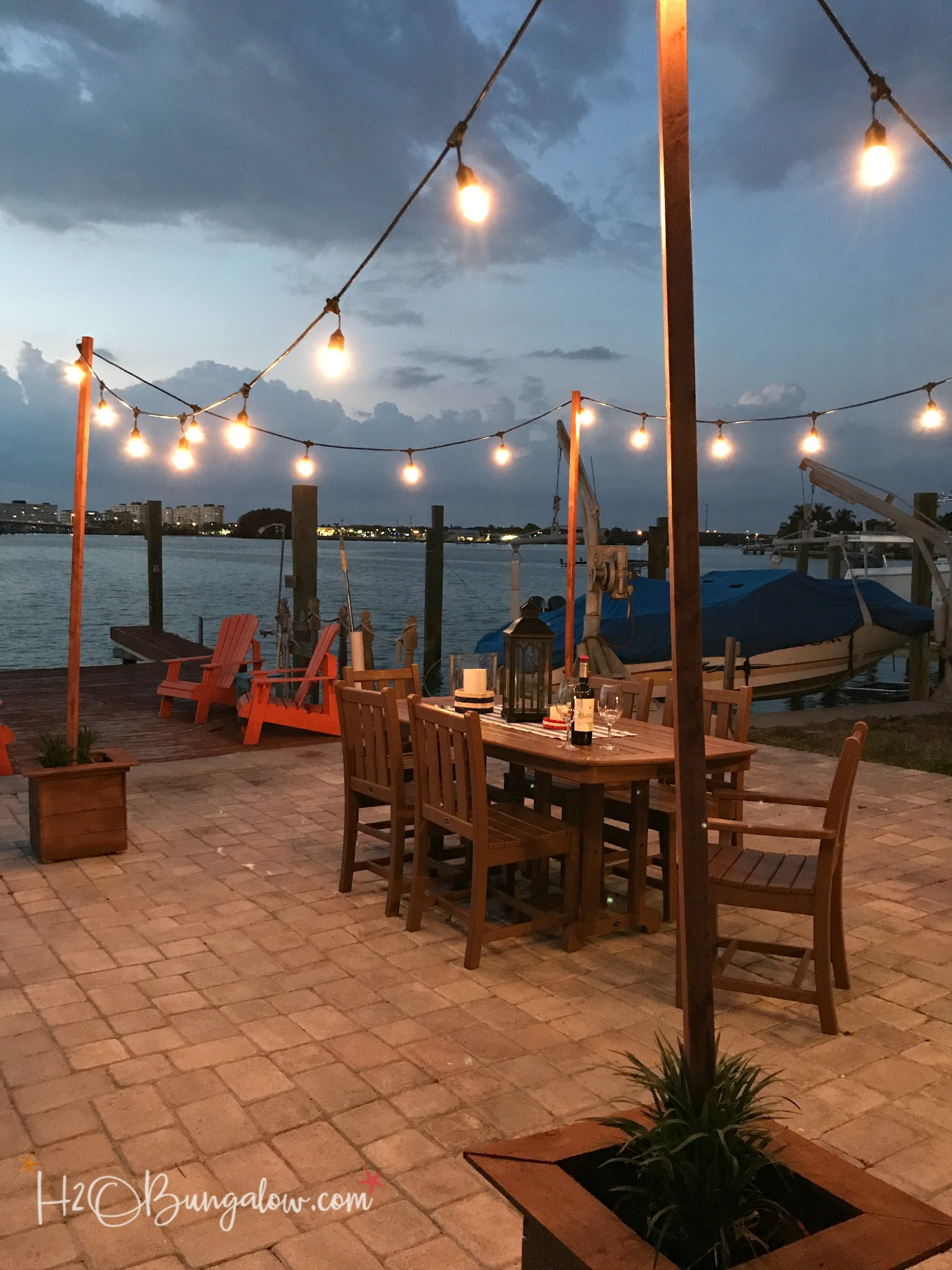 DIY Outdoor String Lights on Poles - H2OBungalow on Backyard String Lights Diy id=44472