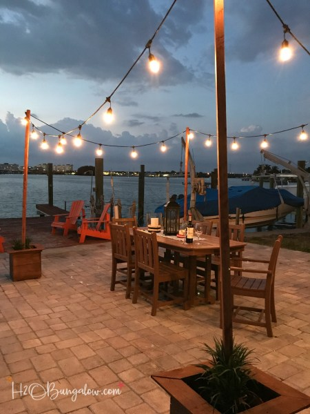 outdoor patio lighting string lights DIY Outdoor String Lights on Poles - H2OBungalow
