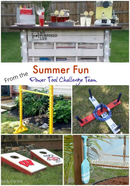 Be ready this season with these fun DIY outdoor summer games you can make and an up-cycled pallet wood serving bar. . Find tutorials to make the Pallet Serving Bar, Limbo Game, Ring Toss Game, Corn Hole Game and a Hook and Ring Game. All from the Power tool Challenge Team