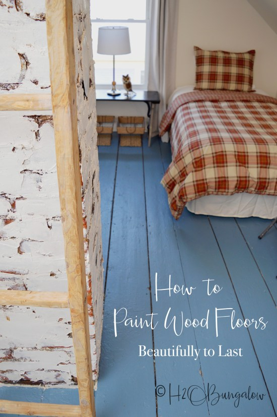 DIY tutorial on how to paint wood floors with detailed instructions to prepare wood floors for painting, wood floor painting tips and best products to use.