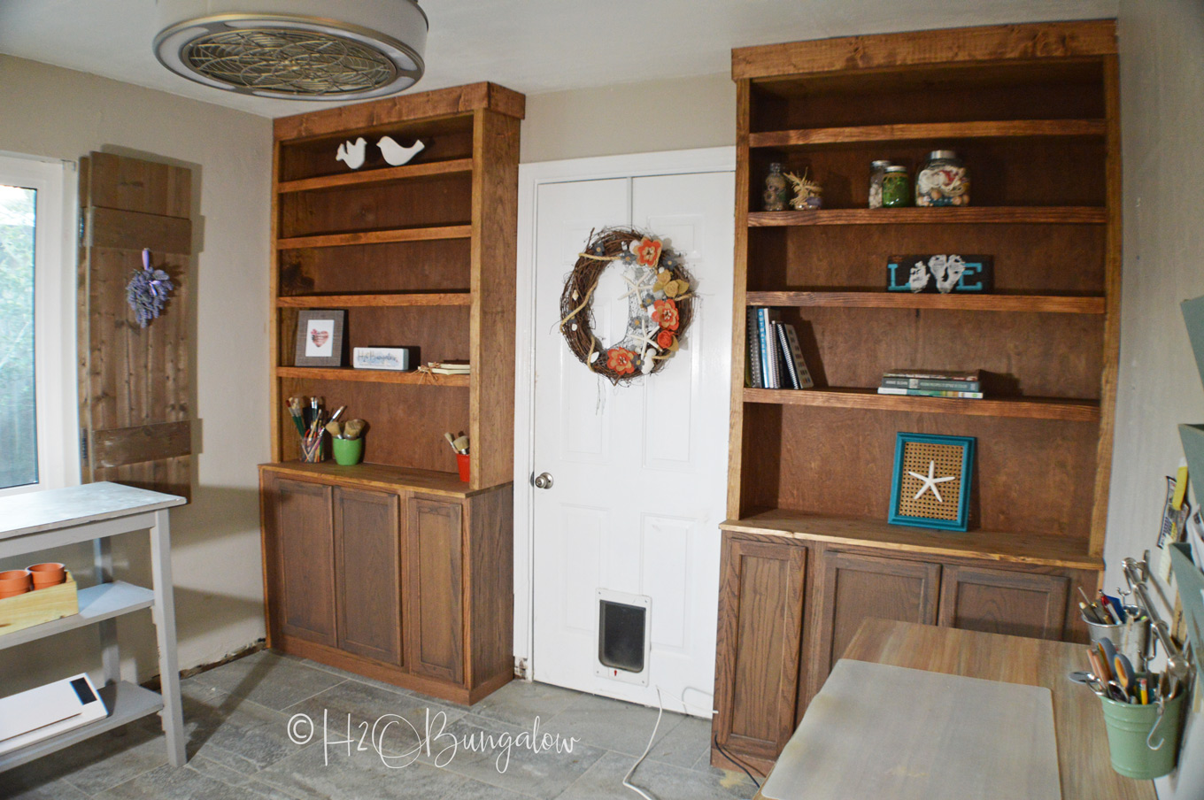 How To Build Built In Bookcases With Cabinets H2obungalow