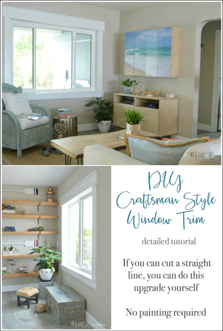 DIY craftsman style window trim tutorial for newbies. If you can cut a straight line, you can build window casings! No fancy cuts in this step by step guide to build craftsman style window casing trim. Use Finished Elegance prefinished boards and you don't need to paint! Includes time saving tips for installing window trim