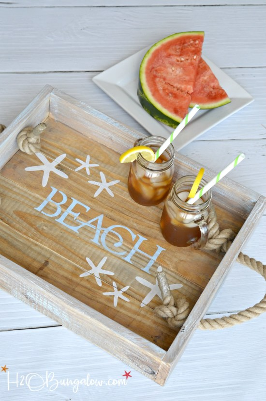 Every beach house needs a serving tray! Find 12 more fresh and trendy beach house decor ideas that you can DIY. Tutorials for coastal decor and beach themed home decor, beach cottage decor and modern coastal.