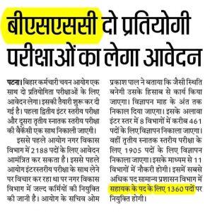 Bihar SSC Recruitment bssc 2021