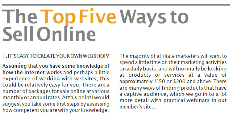 The Top Five Ways to Sell Stuff Online Open a Web Store