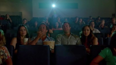 "4 people, one popcorn and drink. Huh. Guess Danny/Gabby are still in the ""I don't eat in front of my date"" thing while clearly McG has never heard of such non-sense. LOL!"