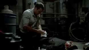 Those few tissues aren't going to work, Steve. You should try to stop the bleeding with your shirt.
