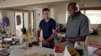 Science guys cooking in the kitchen!! I love that Steve was working on the crime but Grover was working on Steve. <3
