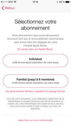 apple music abonnement prix