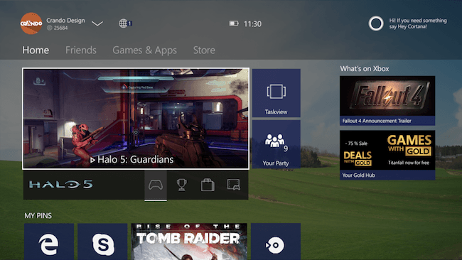 Windows 10 XBox one interface