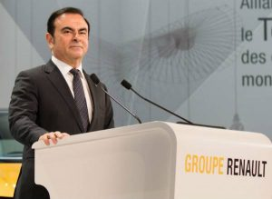 Le PDG du groupe Renault Carlos Ghosn, lors de la conférence sur le renforcement de la R&D Renault