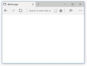 La page about:blank sur Microsoft Edge