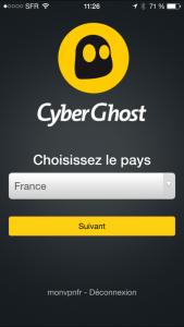 Cyberghost, une interface pour les mobiles