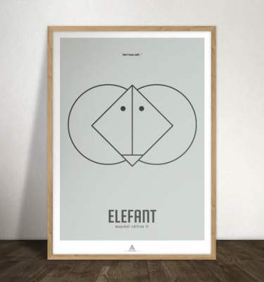 elefant stor - Minimalistisk Grafisk illustration
