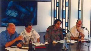 Eduardo Galeano, Mario Benedetti, Orlando Rojas y Reynaldo González
