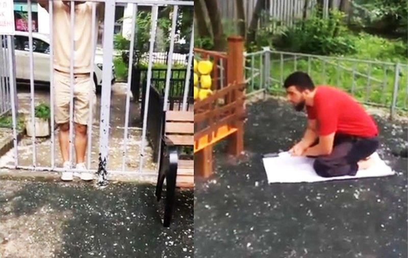 Москвичка сняла намаз на детской площадке