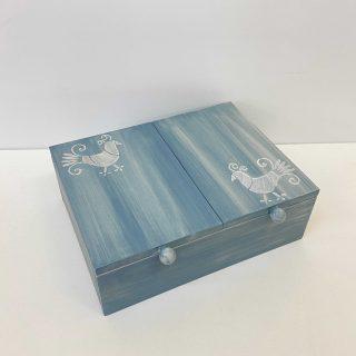 scatola a due scomparti in legno