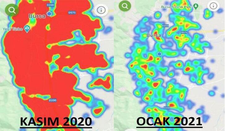 Bursa'da vaka sayıları azaldı, HES uygulamasındaki harita yeşile döndü