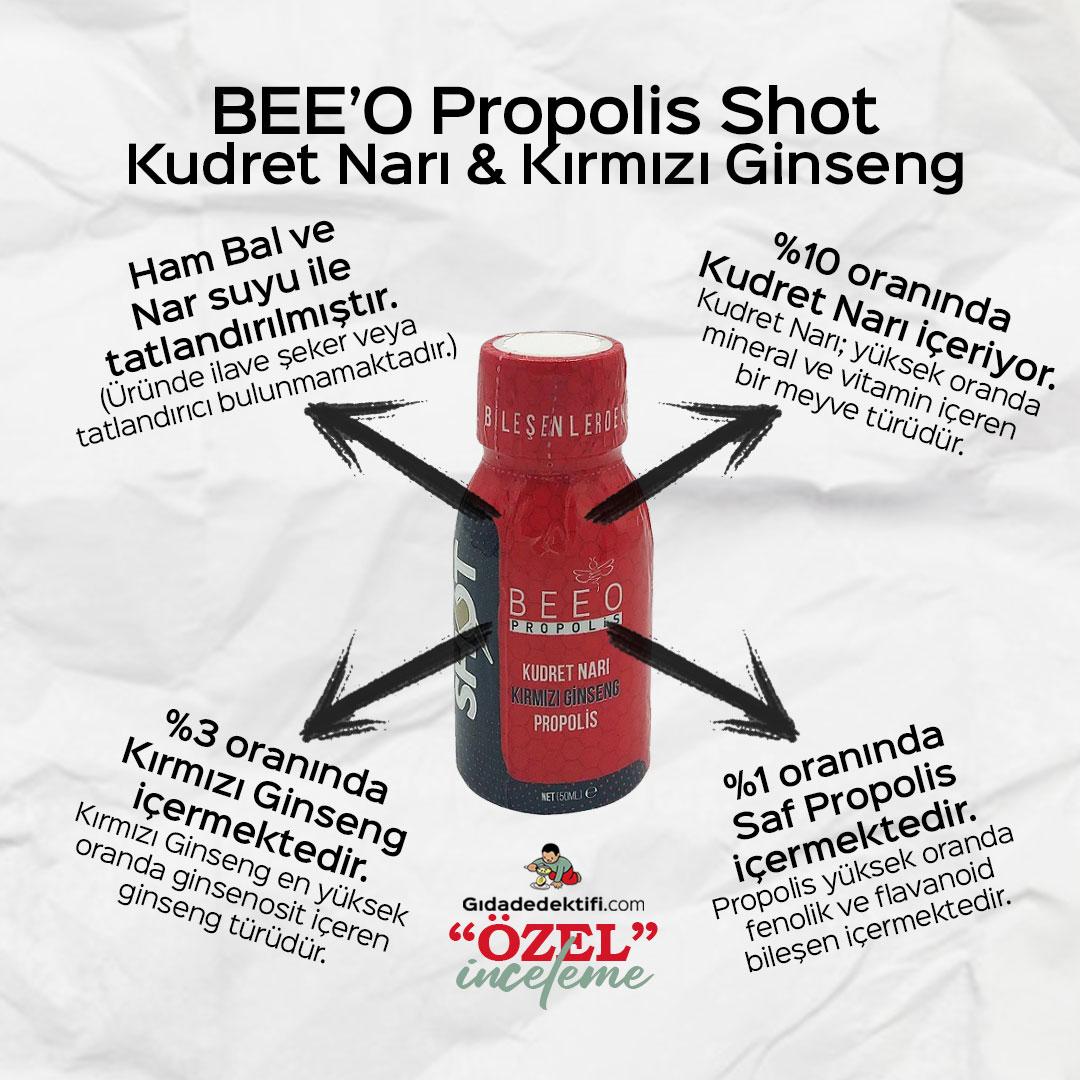 BEE'O Propolis Shot Kudret Narı Kırmızı Ginseng & Propolis - Gıda Dedektifi