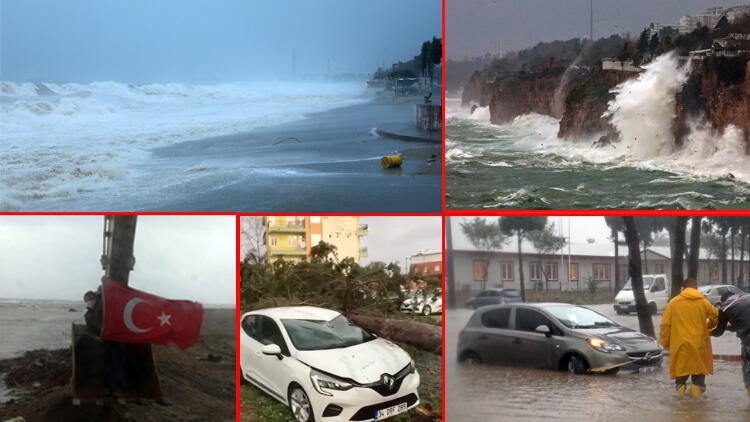 Antalya'yı fırtına vurdu! Uçaklar inemedi, ağaçlar devrildi, araçlar mahsur kaldı