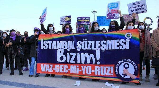 Mersin'de kadınların İstanbul Sözleşmesi tepkisi dinmiyor