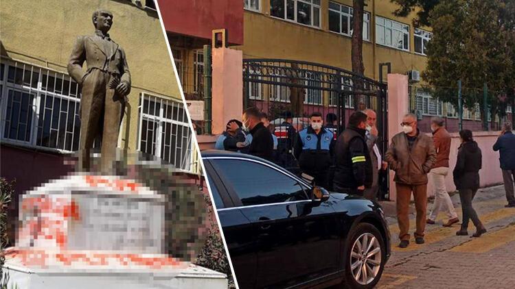 Tekirdağ'da Atatürk heykeline çirkin saldırı! Çevredekiler durumu fark etti