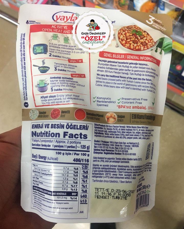 Yayla Yemek Hazır Etli Kuru Fasulye - Gıda Dedektifi