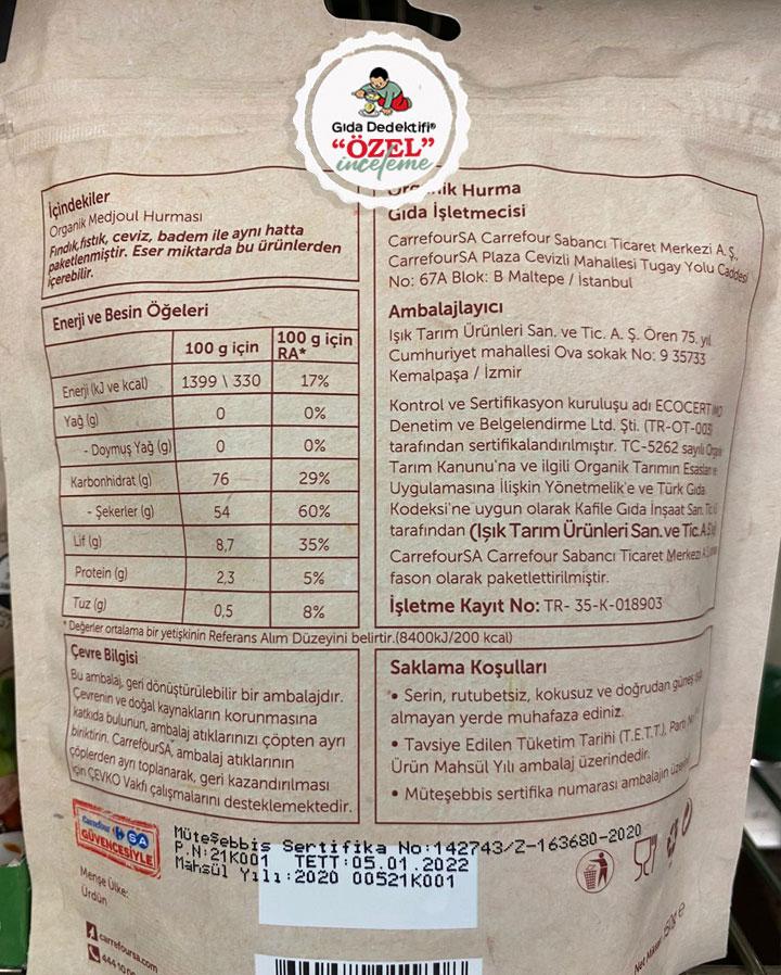 Carrefour Bio Organik Medjoul Hurma - Gıda Dedektifi
