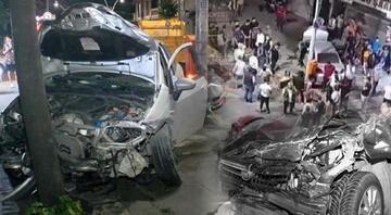Sultangazide ortalık savaş alanına döndü Otomobile, motosiklete, ağaca çarptı...