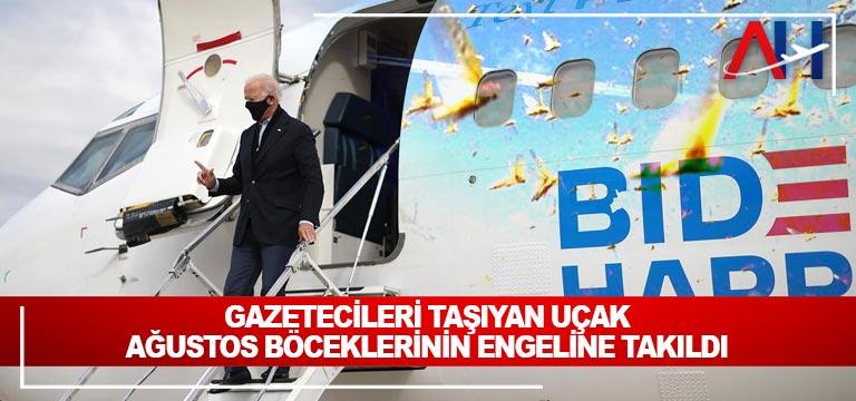 Gazetecileri taşıyan uçak ağustos böceklerinin engeline takıldı
