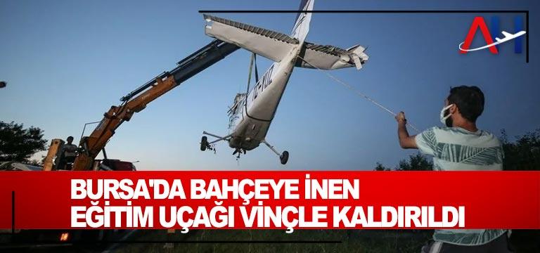 Bursa'da bahçeye inen eğitim uçağı vinçle kaldırıldı