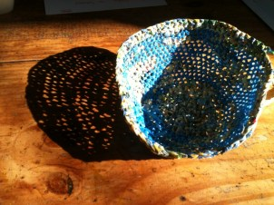 Blue plarn bowl