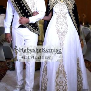 Black Gold Ethiopian Traditional Dress Wedding-31