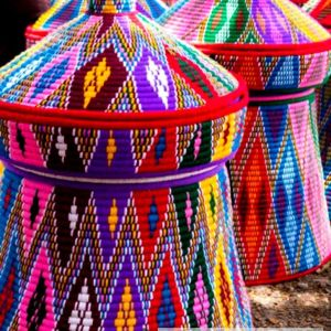 Colorful Hand Woven Mesob Ethiopian House Decor-18