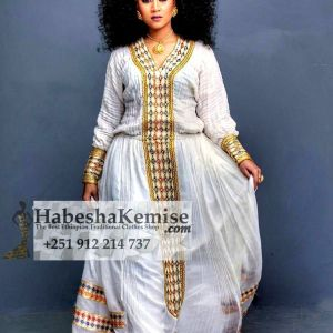 Golden Saba Ethiopian Traditional Dress-19