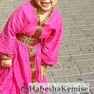 Pink Lilt Ethiopian Traditional Dress Kids-8