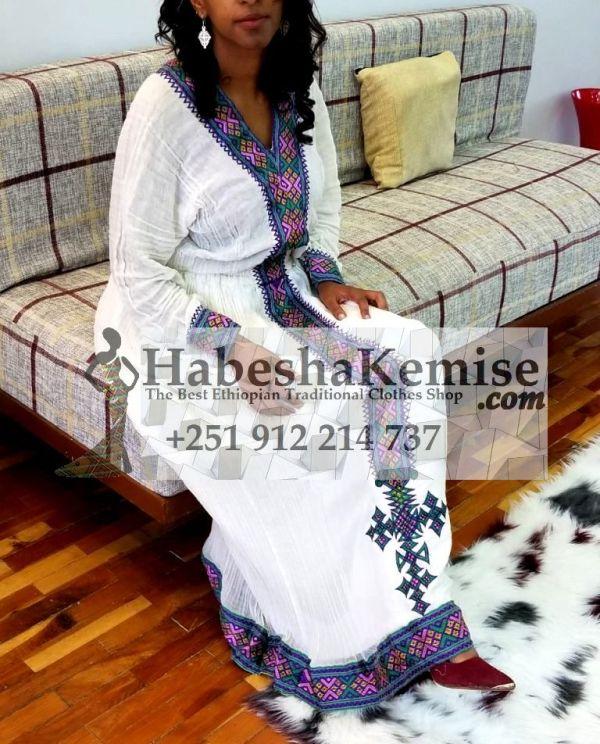 Purple Abeba Ethiopian Traditional Dress-3